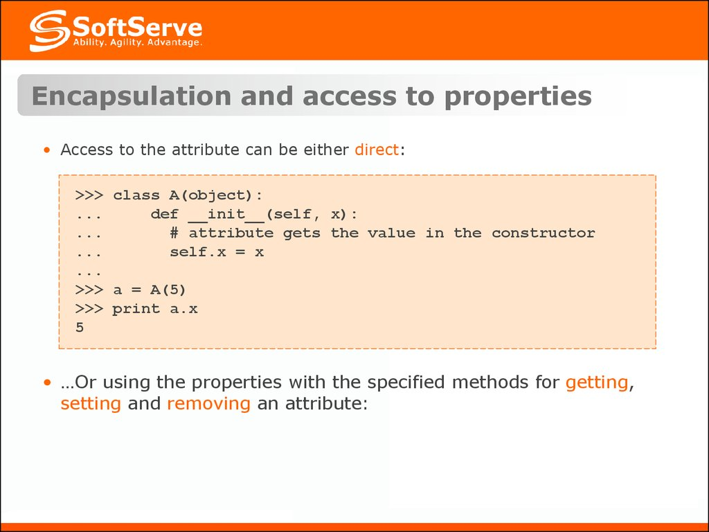 Encapsulation and access to properties