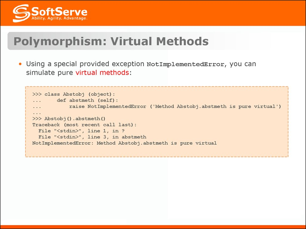 Polymorphism: Virtual Methods