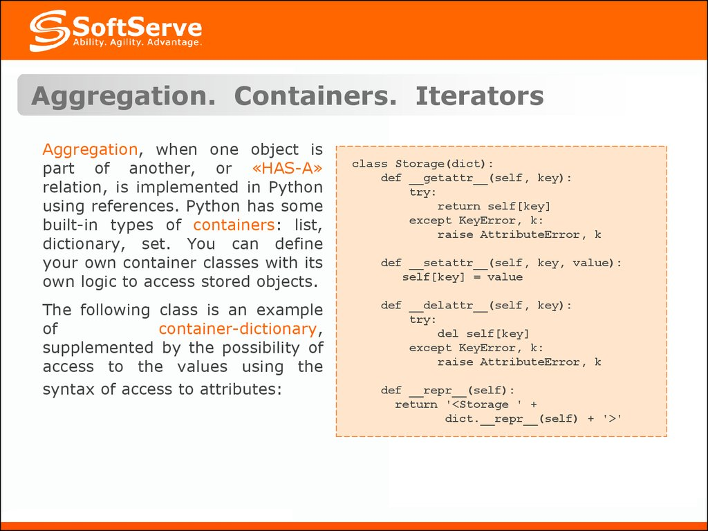 Aggregation. Containers. Iterators