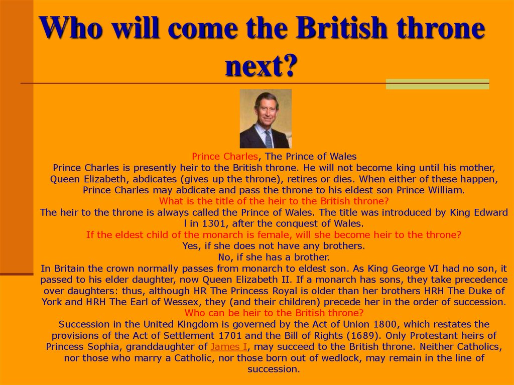 Who will come the British throne next?