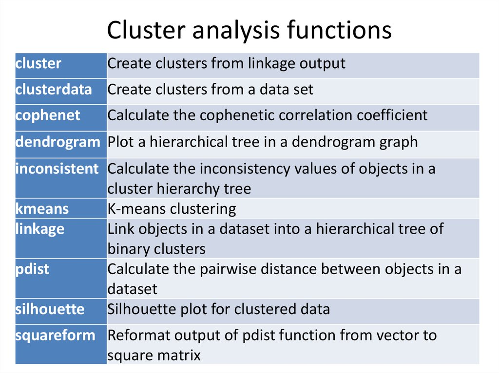 Cluster analysis functions