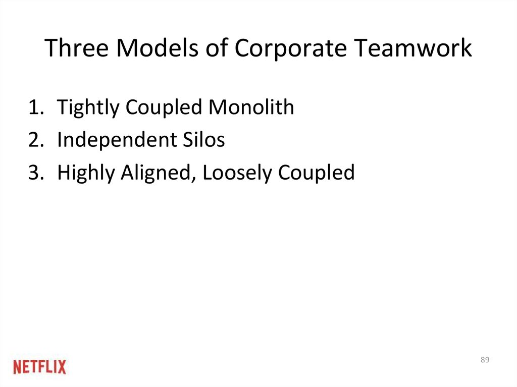three models of corporate teamwork 1 tightly coupled monolith 2 independent silos 3 highly aligned loosely coupled