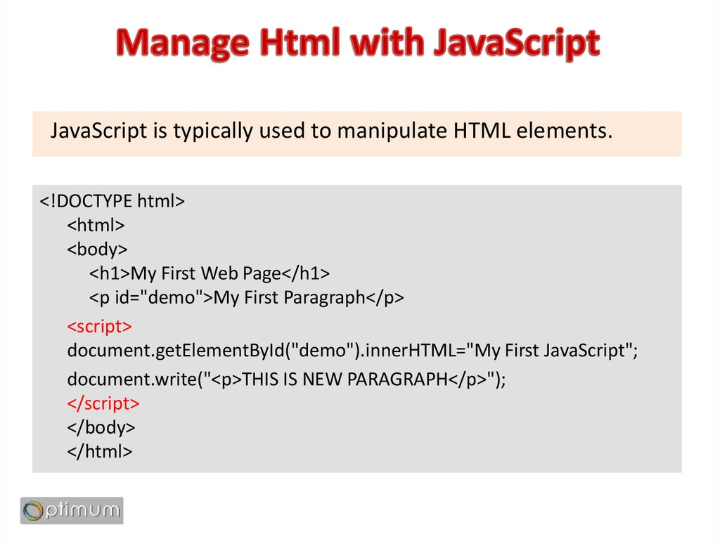 Manage Html with JavaScript