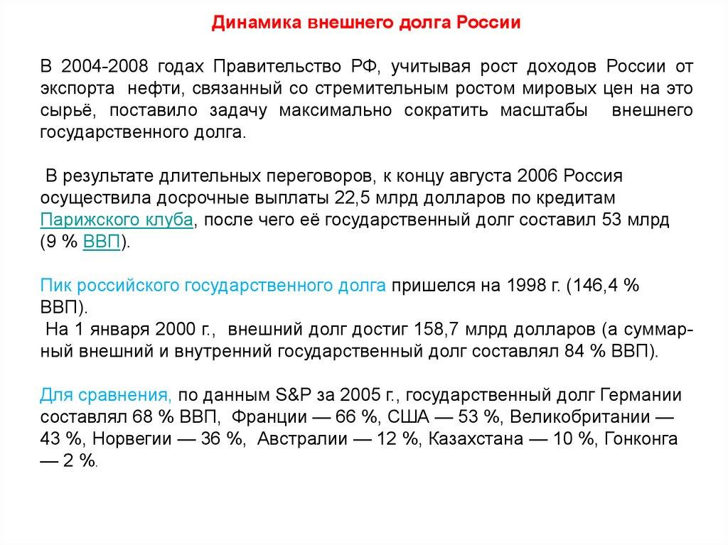 Динамика внешнего долга России В 2004-2008 годах Правительство РФ, учитывая  рост доходов России от экспорта нефти, связанный со стремительным ростом  мировых ... 3ef36c6fcca