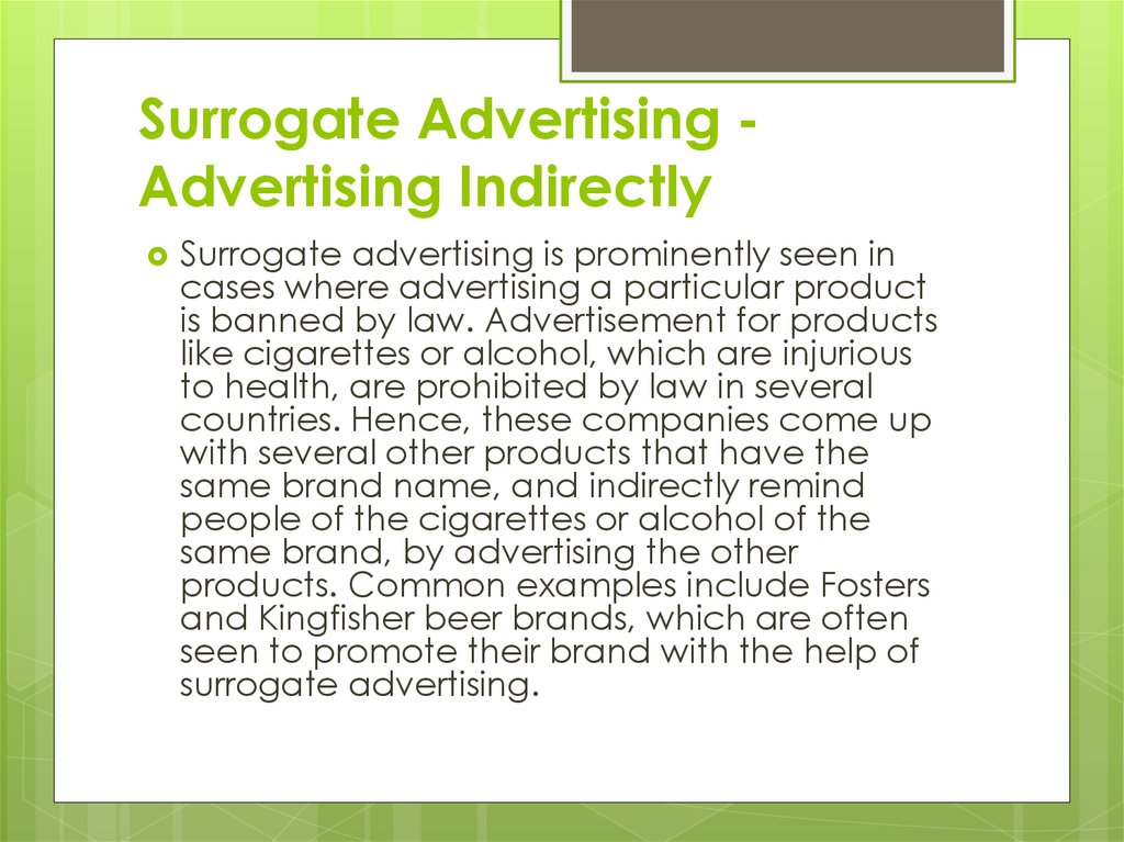 Surrogate Advertising - Advertising Indirectly
