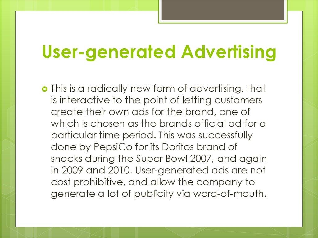 User-generated Advertising