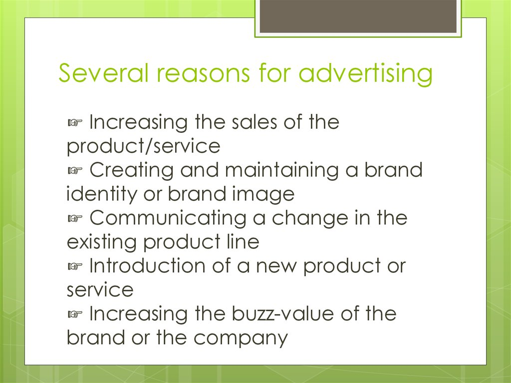 Several reasons for advertising