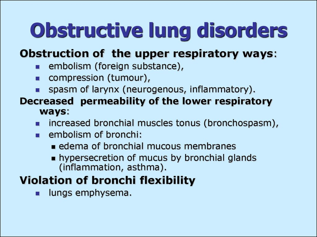 Obstructive lung disorders