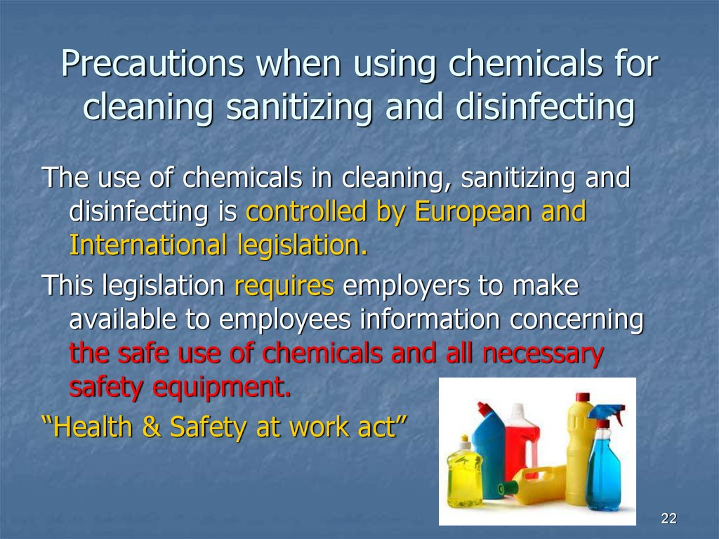 Precautions when using chemicals for cleaning sanitizing and disinfecting