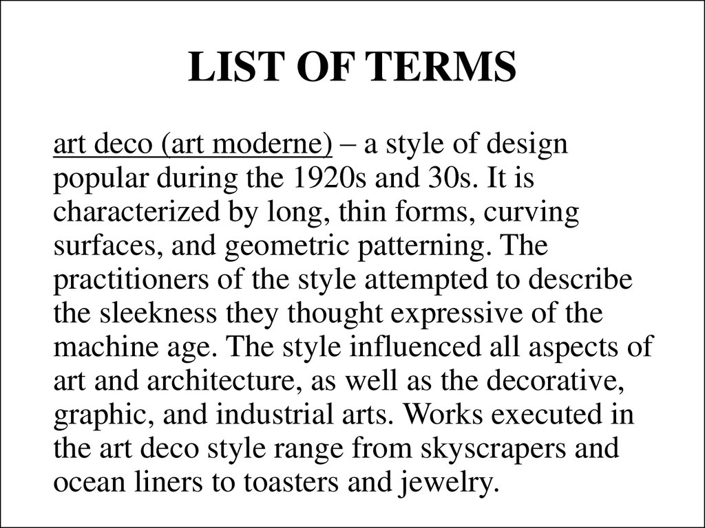 LIST OF TERMS
