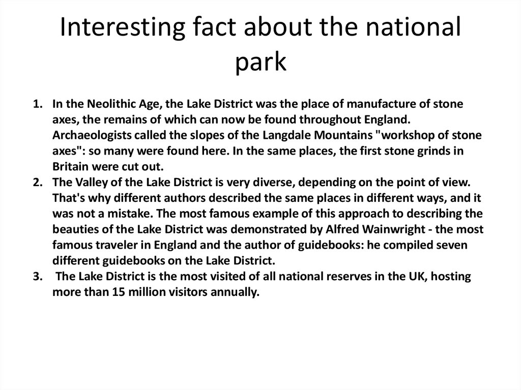 Interesting fact about the national park