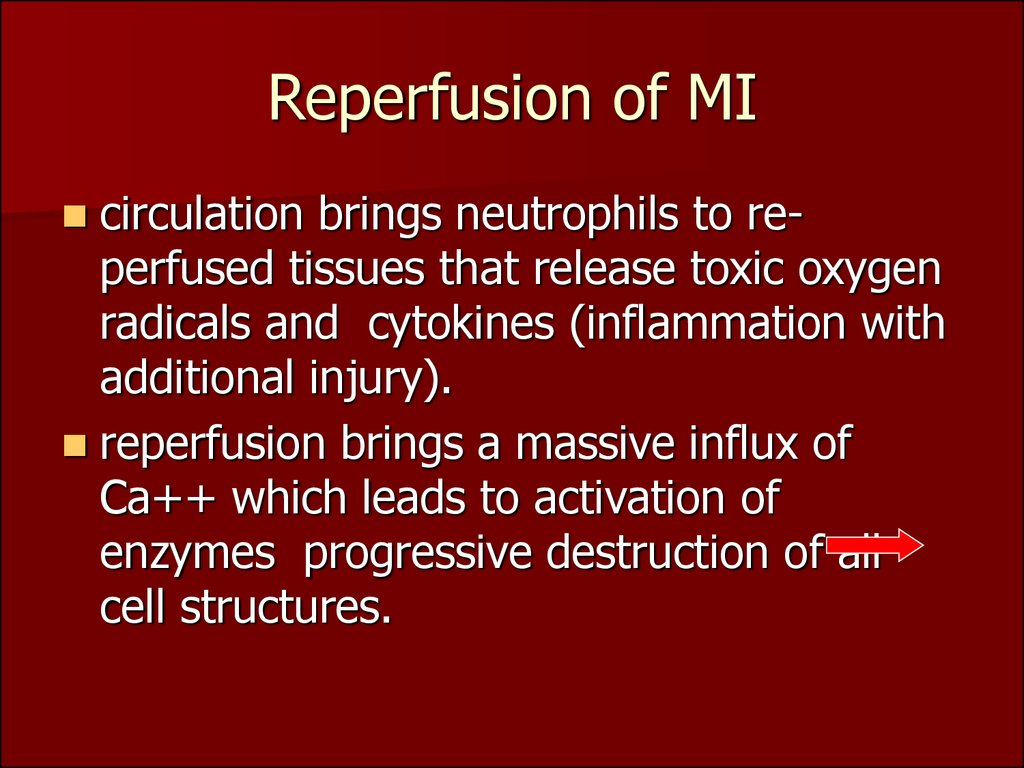 Reperfusion of MI