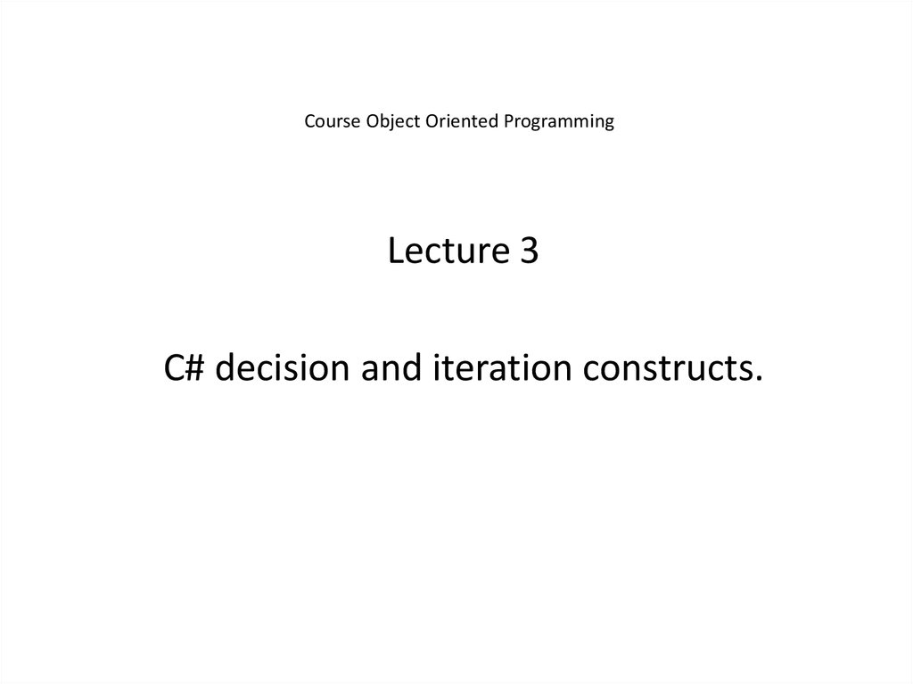 Course Object Oriented Programming