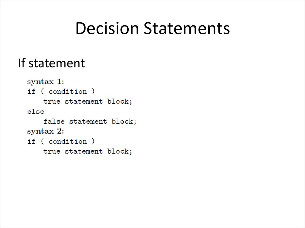 Decision Statements