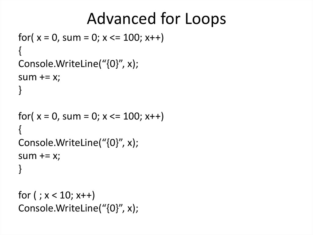 Advanced for Loops