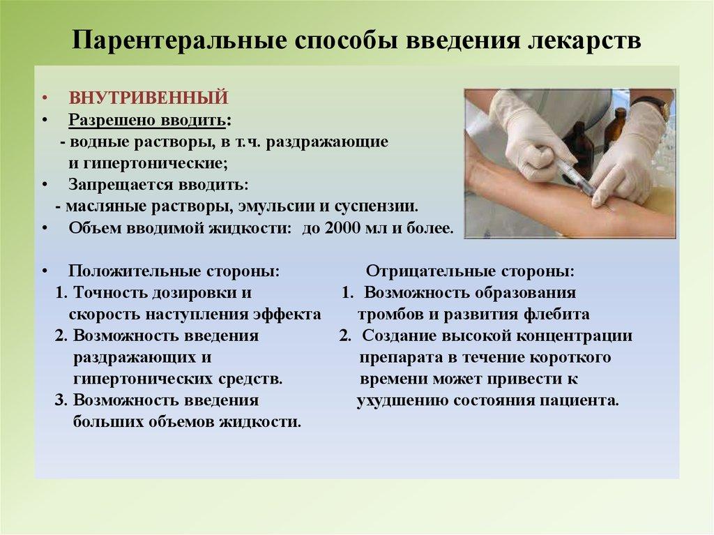 Преимущества парентерального введения лекарственных средств