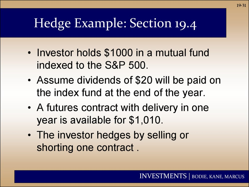 Hedge Example: Section 19.4