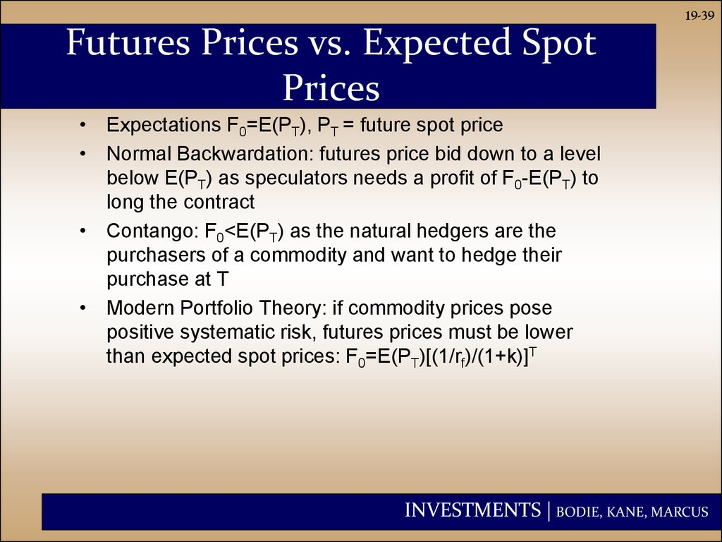 Futures Prices vs. Expected Spot Prices