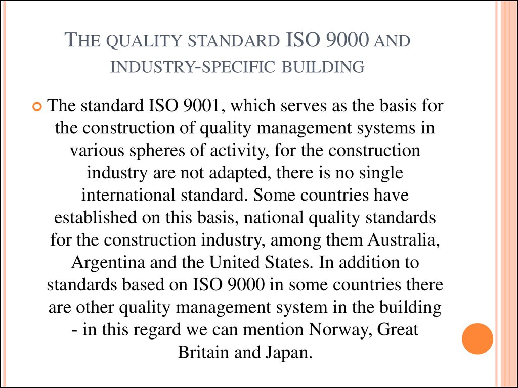 The quality standard ISO 9000 and industry-specific building
