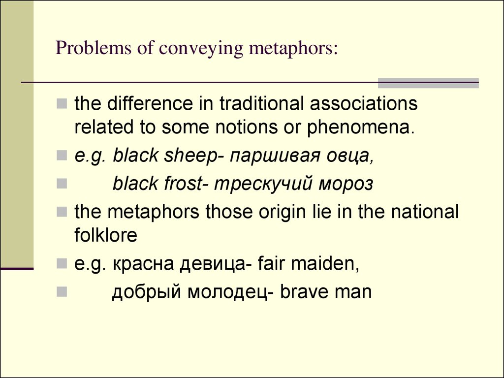 Problems of conveying metaphors: