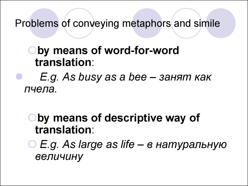 translation of image in metaphor Strategies of metaphor translation by brankica bojović, phd, associate professor, alpha university, belgrade  for the translation of stock metaphors, the sl image should be legitimately reproduced in the tl, but the metonyms used may be transferred as long as the.