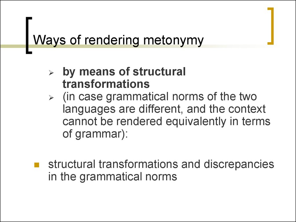 Ways of rendering metonymy