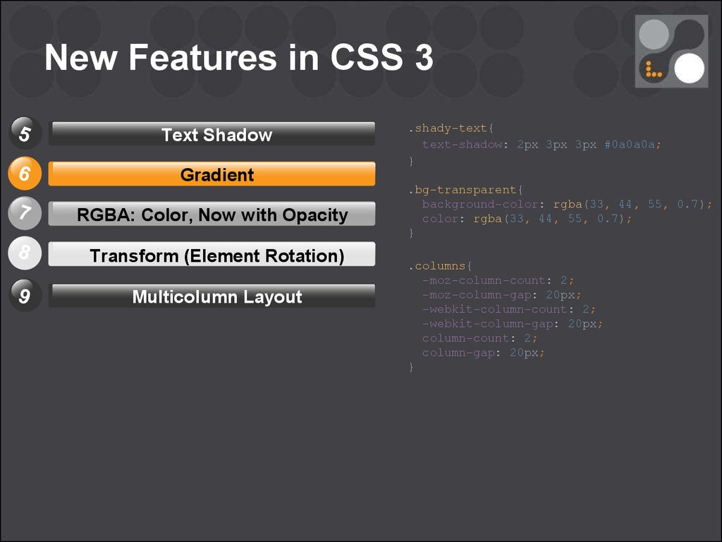 Introduction to HTML / CSS (part 6) - online presentation