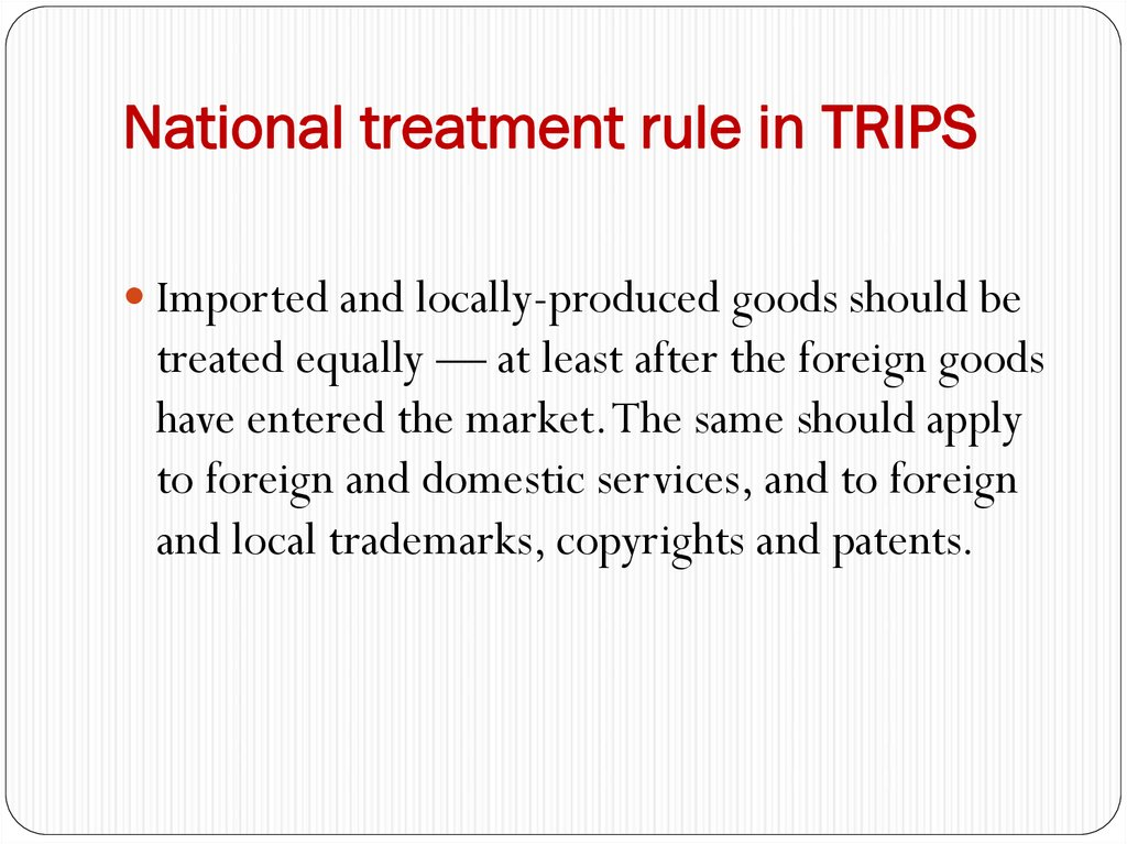 National treatment rule in TRIPS