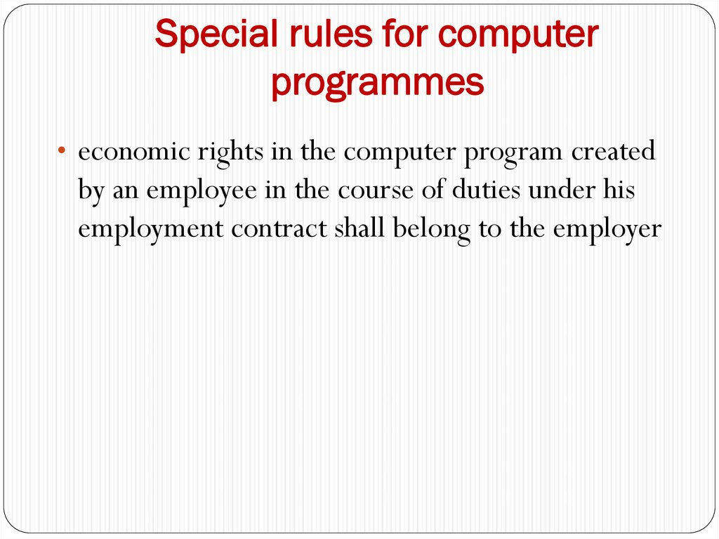 Special rules for computer programmes