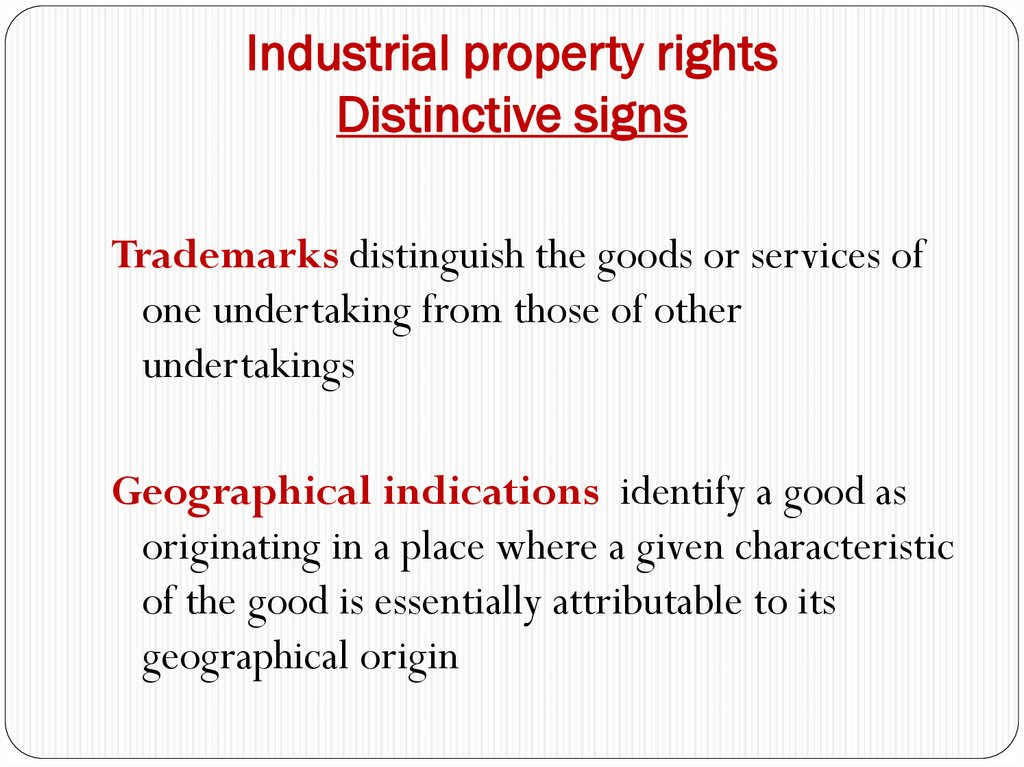 Industrial property rights Distinctive signs