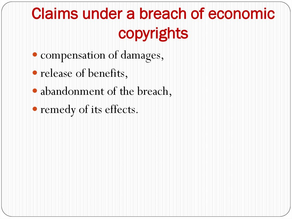 Claims under a breach of economic copyrights