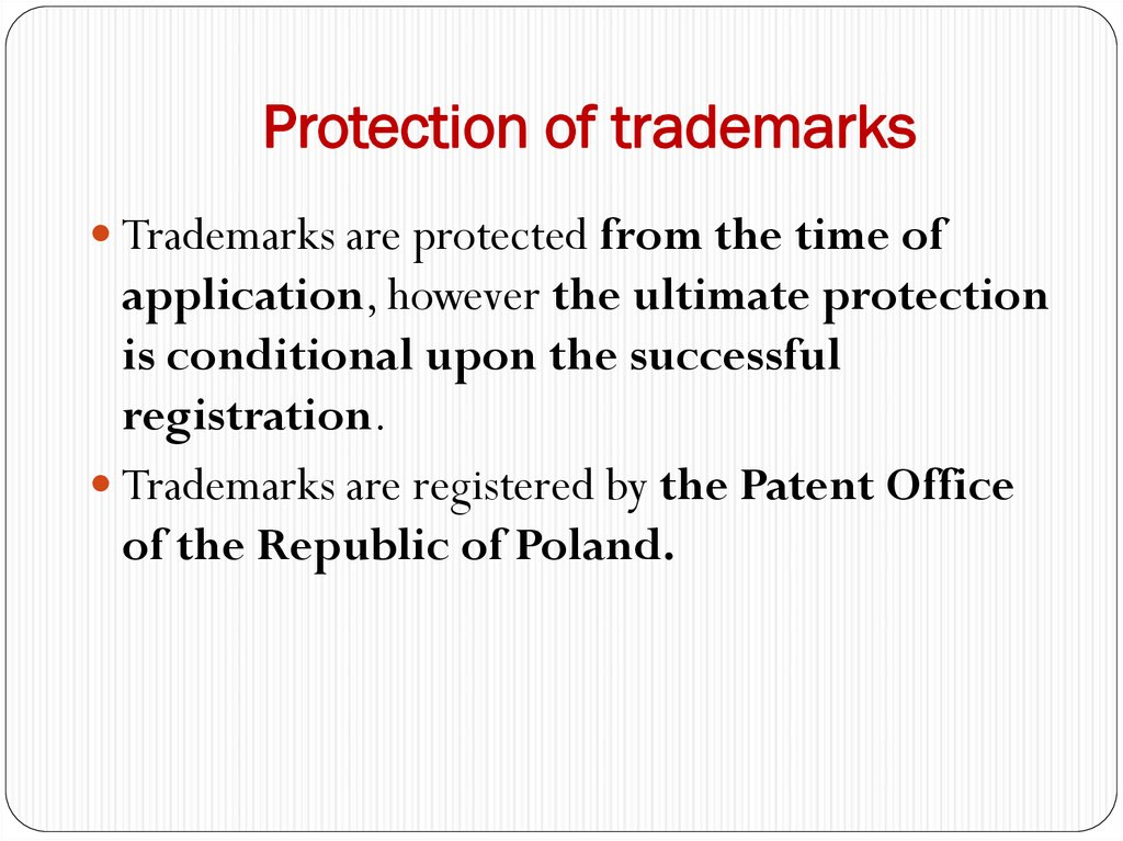Protection of trademarks