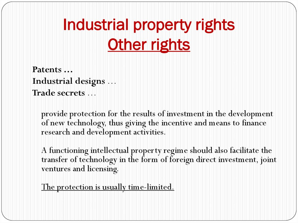 Industrial property rights Other rights