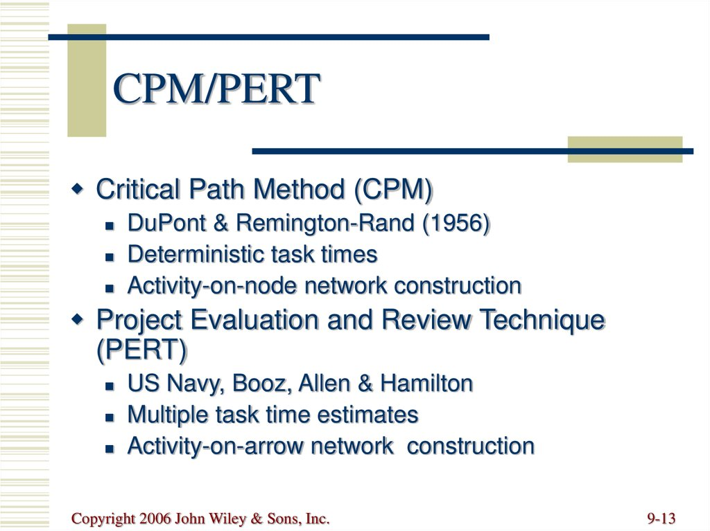 pert cpm and transportation problem technique Program evaluation and review technique (pert) and critical path method (cpm) help managers to plan the timing of projects involving sequential activities pert/cpm charts identify the time required to complete the activities in a project, and the order of the steps.