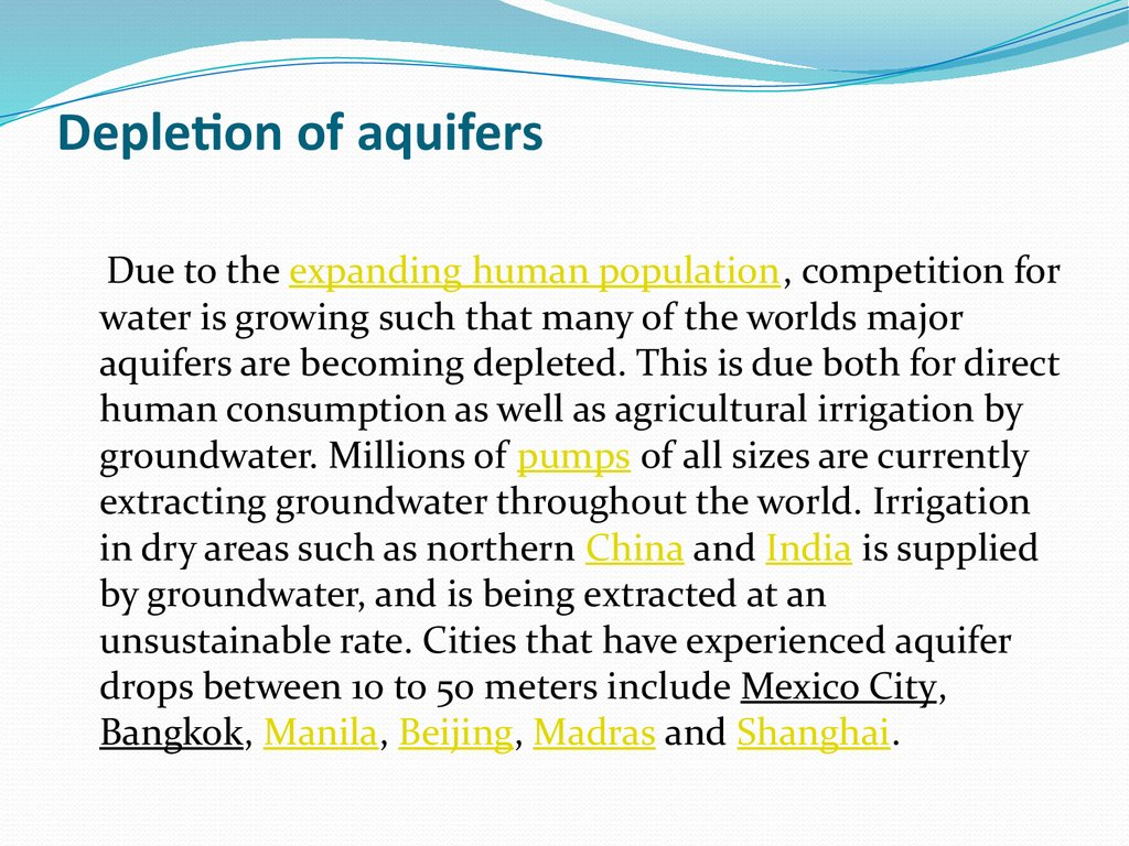 Depletion of aquifers