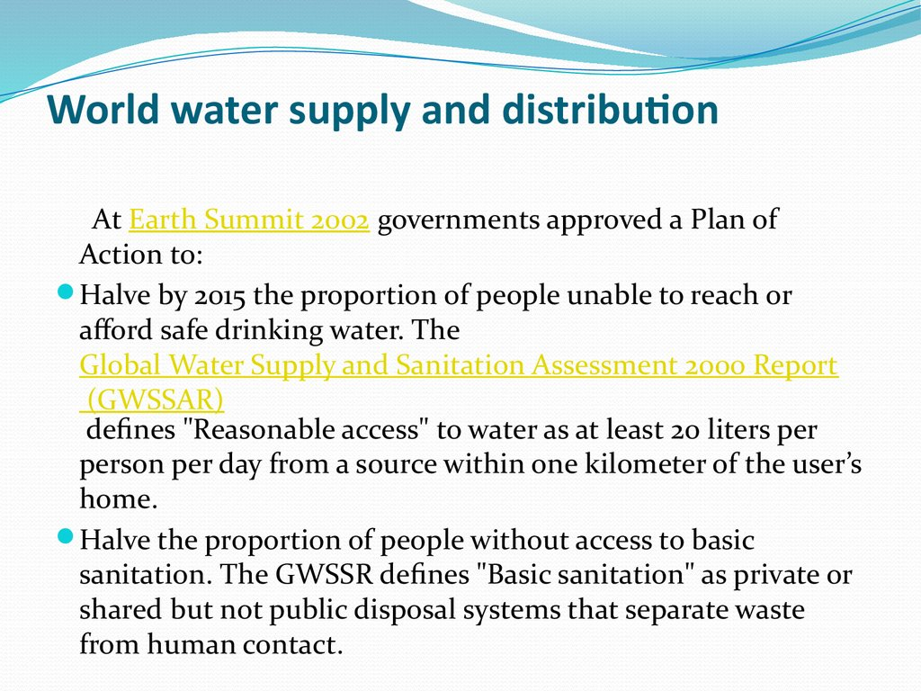 World water supply and distribution