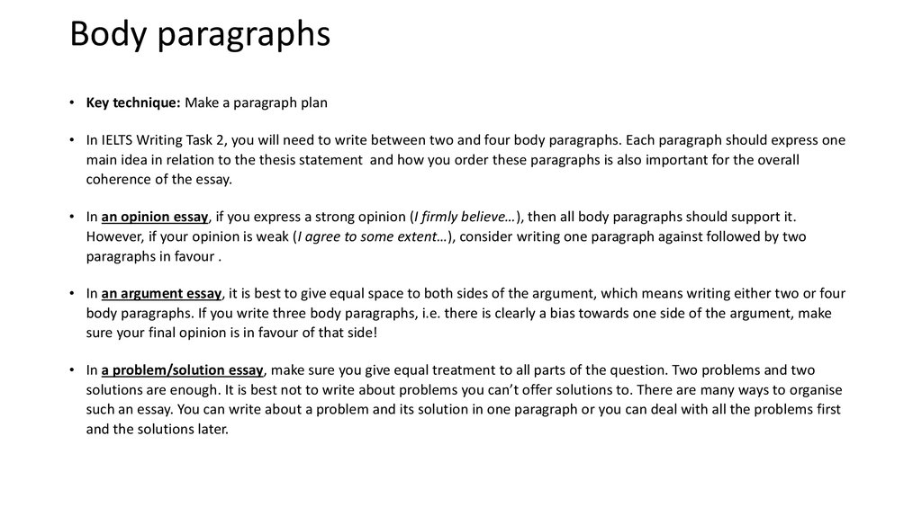 How To Organize Your Answer Use The Following Guide To Plan   Body Paragraphs