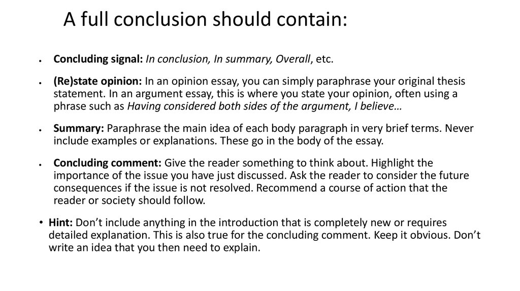 what should a conclusion contain
