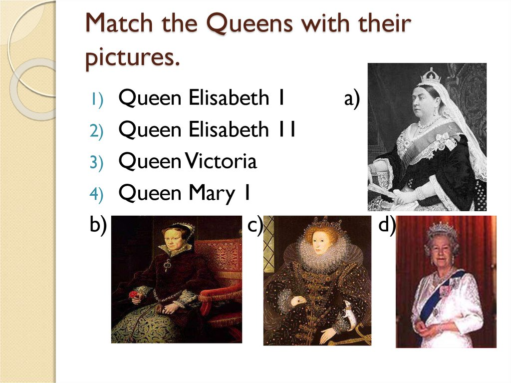 Match the Queens with their pictures.