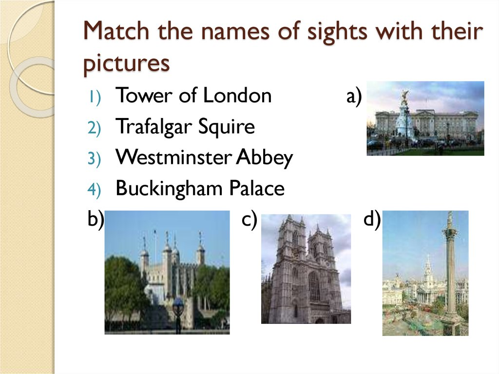 Match the names of sights with their pictures