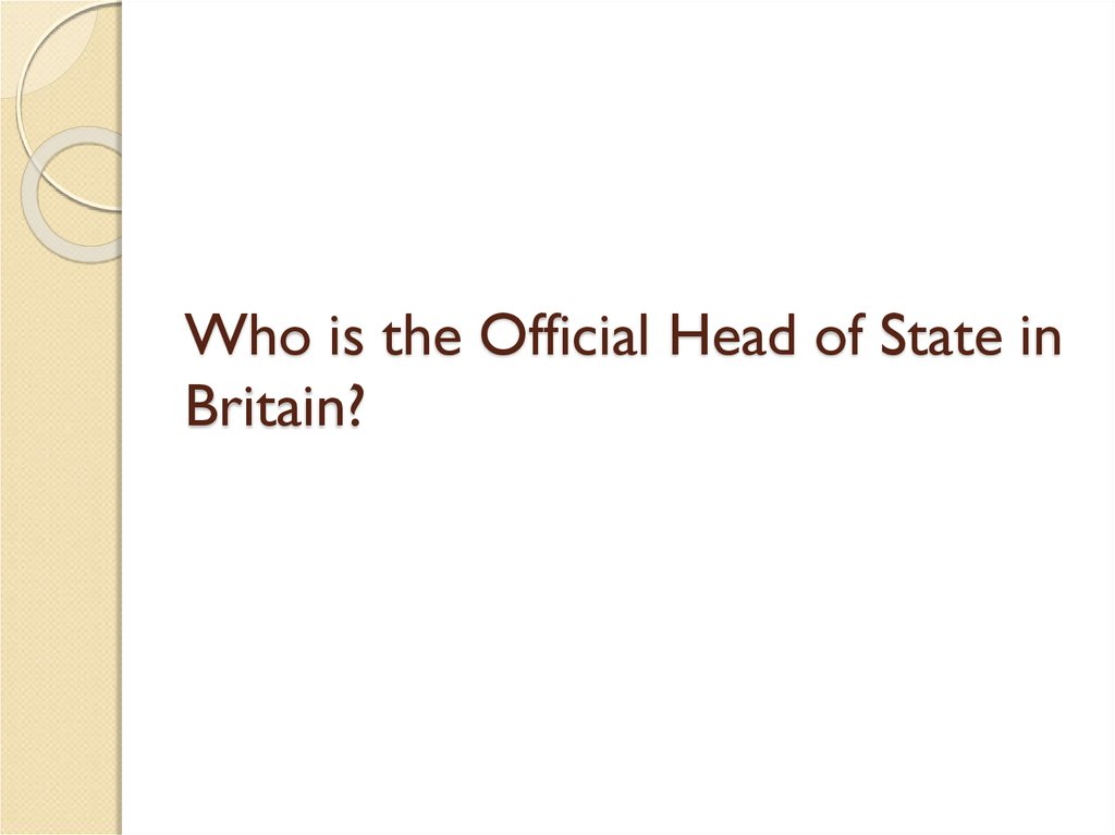 Who is the Official Head of State in Britain?