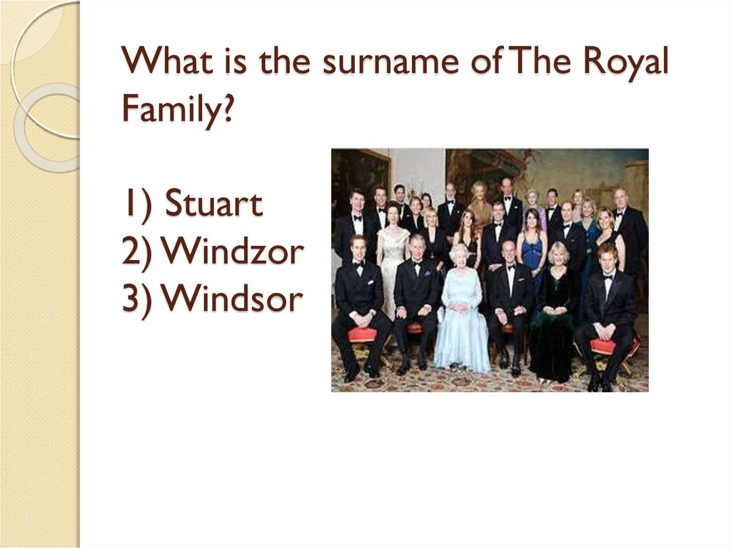 What is the surname of The Royal Family? 1) Stuart 2) Windzor 3) Windsor