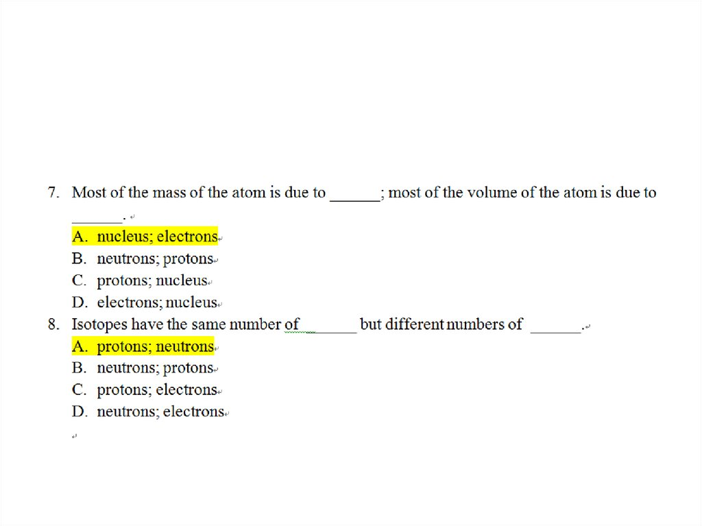 Multiple Choice Questions - online presentation