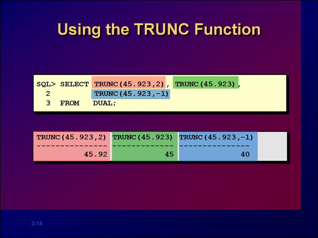 Using the TRUNC Function