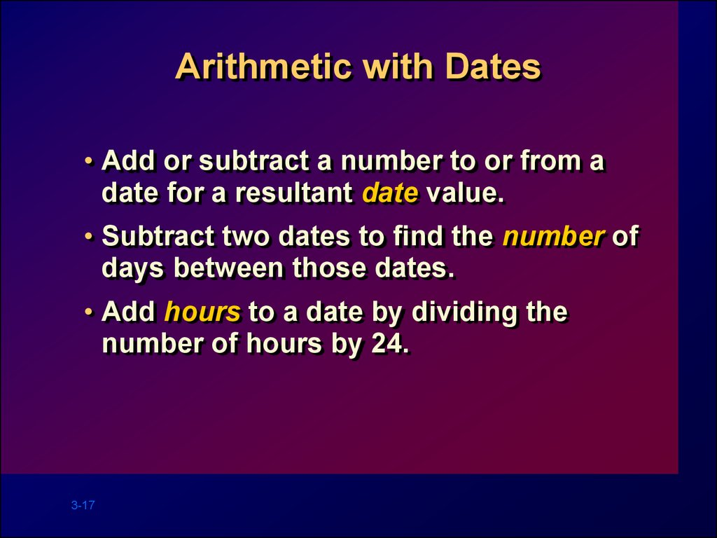 Arithmetic with Dates