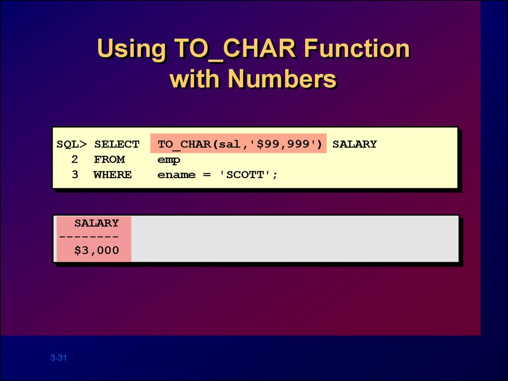 Using TO_CHAR Function with Numbers