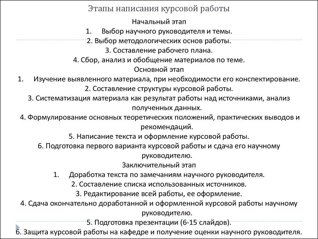 Требования к оформлению и защиты курсовой работы презентация онлайн  Этапы написания курсовой работы