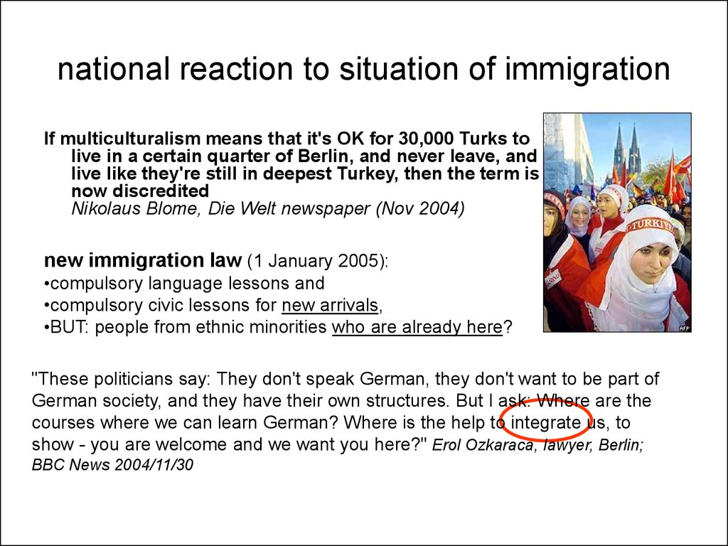 national reaction to situation of immigration