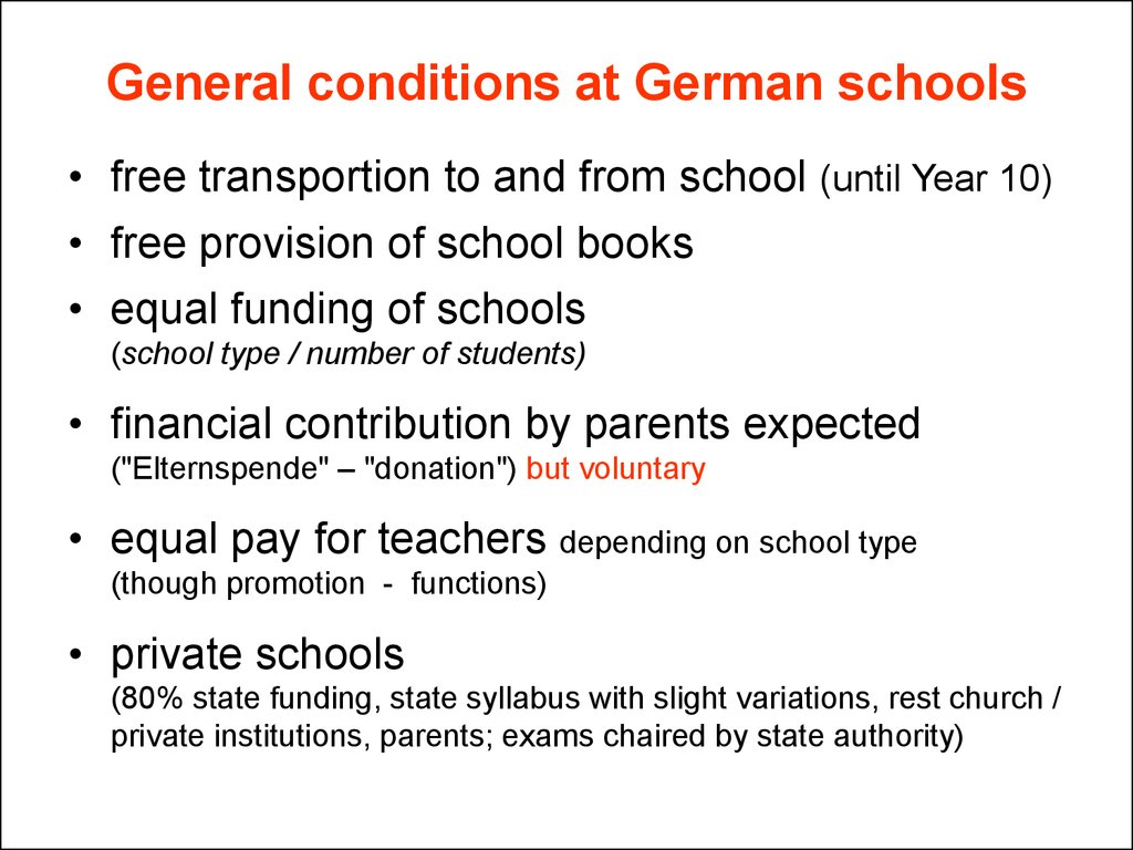 General conditions at German schools