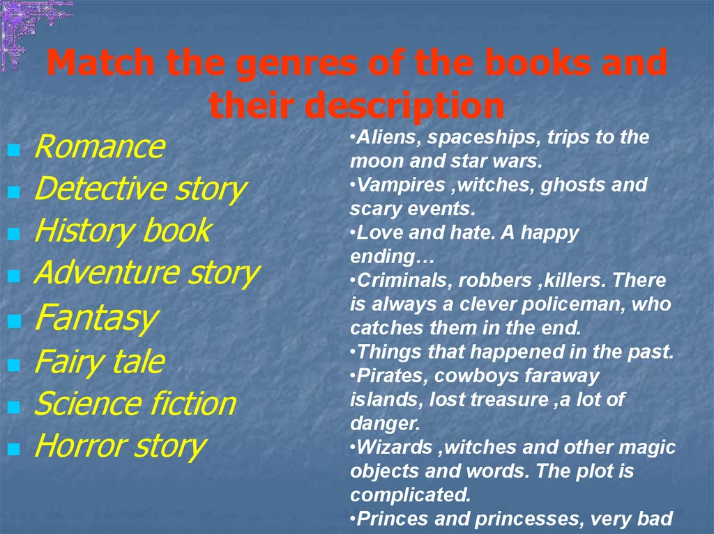 Match the genres of the books and their description